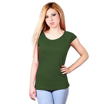 Raglan T shirt pour femmes en bambou et en coton biologique : M, Vert feuille