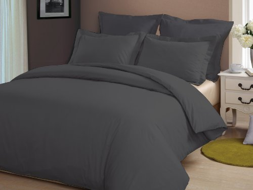 Congo Linen 610 Tc Italian Finish Egyptian Cotton Luxurious Sheet Set 610 Tc Solid ( Cal-King , Elephant Grey )