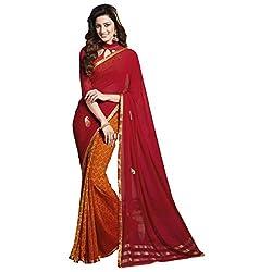 radhika Red, Orange Georgette Fabric Foil Print Saree