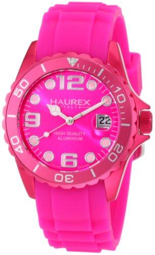 Haurex Italy Women's 1K374DP2 Ink Hot Pink Rubber Band Aluminum Watch