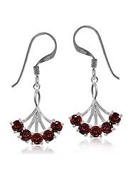 P D Diamonds Garnet Gemstone 5 Stone Dangle Earring For Womens In Silver 925
