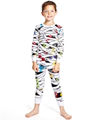 Pure Cotton Bandage & Monster Print Cosy Pyjamas