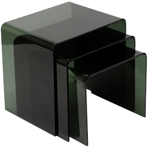 Casper Nesting Table Clear Black 3Pc