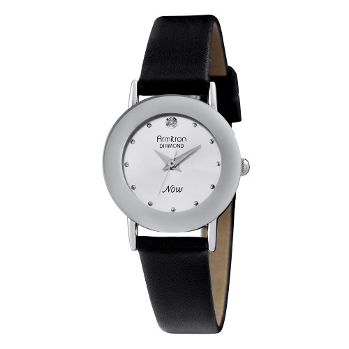 Armitron NOW Women's 752447SVSVBK Diamond Accented Silver-Tone Black Leather Strap Watch