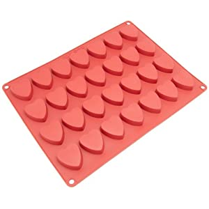 Freshware CB-109RD 28-Cavity Heart-Shaped Silicone Mold for Making Homemade Chocolate, Candy, Gummy, Jelly, and More