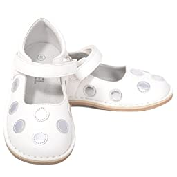 L\'Amour White Silver Dot Mary Jane Dress Shoe Baby Girl 4