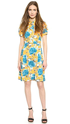 Marc By Marc Jacobs Women'S Jerrie Rose Crepe Dress, Yellow Jacket Multi, 8