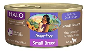 Halo 12-Pack Grain Free Turkey and Duck, Small Breed Dog Food, 5.5-Ounce