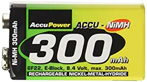 AccuPower 9 Volt 300 mAh Rechargeable NiMH Battery PP3