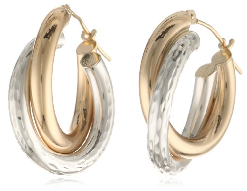 Bonded 14k Gold and Sterling Silver Two-Tone Hoop Earrings