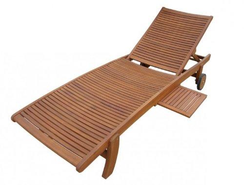 Gartenliege Sonnenliege rollbar verstellbar mit Tisch Eukalyptus FSC-Holz, geölt