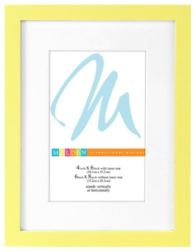 Malden International Designs Matted Bright Woods Picture Frame, HoldS 4 by 6-Inch Matted to 6 by 8-Inch Matted Photos, Beach Yellow