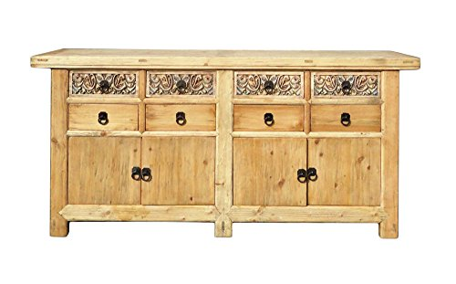 Chinese Vintage Natural Finish Carving Sideboard Buffet Cabinet Acs1147 0