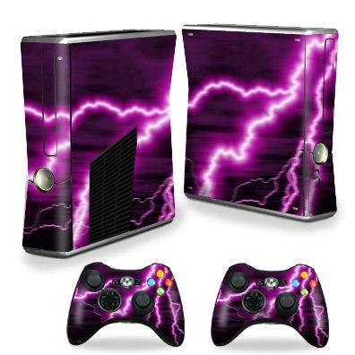 Protective Vinyl Skin Decal Cover for Microsoft Xbox 360 S Slim + 2 Controller Skins Sticker Skins Purple Lightning