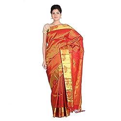 Indian Artizans Red Pure Silk Kanjivaram Saree