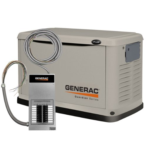Generac 6242 17,000 Watt Air-Cooled Steel Enclosure Liquid Propane/Natural Gas Powered Standby Generator With 17 Circuit Transfer Switch (Carb Compliant)