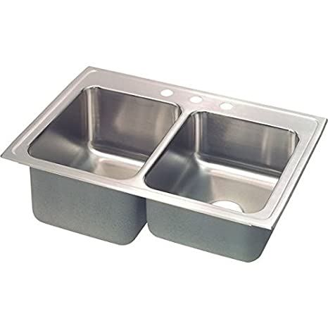 Elkay STLR3322L4 18 Gauge Stainless Steel Double Bowl Top Mount Kitchen Sink, 33 x 22 x 10.125""