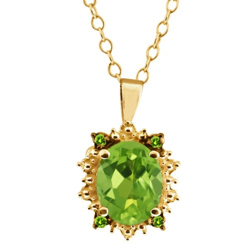 1.38 Ct Oval Green Peridot Gemstone Gold Plated Sterling Silver Pendant