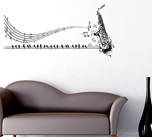 Decals Design Wall Stickers Musical Notes With Trumpet Design For sofa Background And Living Room Decoration Vinyl (PVC Vinyl, 60 x 45 cm, Black)  available at amazon for Rs.169