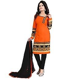 Womens New Designed Fancy Printed Unstiched Dress Material Party & Regular Wear Salwar Suit Orange Color (Chanderi...