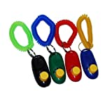 Big Button Pet Dog Cat Training Clickers, click with wrist bands - 4 Pack, by Pet Supply City