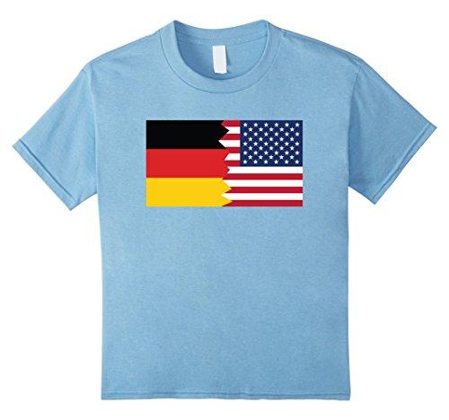 Kids German American Half Germany Half America Flag T-Shirt 12 Baby Blue
