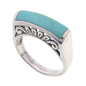 SilverBin Sterling Silver Bezel Set Rectangular Shape Turquoise Ring with Filigree Accents