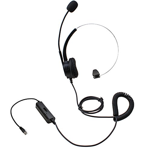 AGPtEK® Hands-free Call Center Noise Cancelling Corded Monaural Headset Headphone for Desk Telephone with 4-Pin RJ9 Crystal Head