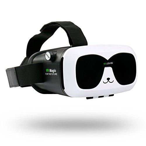 Levin 3D Gafas Realidad Virtual Caja,VR Box con Ajustable Lente y Correa,3D VR Gafas para Smartphone Head-Mounted Cartón de Video 3D Películas(Panda)