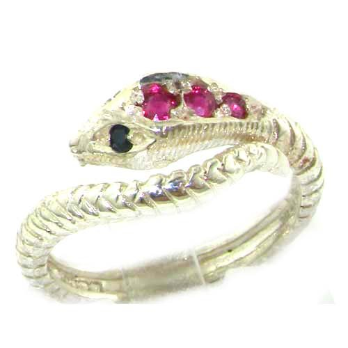 Fabulous Solid Sterling Silver Natural Ruby & Sapphire Detailed Snake Ring - Size 12 - Finger Sizes 5 To 12 Available - Suitable As An Anniversary Ring, Engagement Ring, Eternity Ring, Or Promise Ring