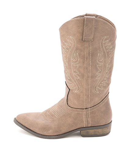 Rampage Womens Wamblee Cowboy Western Mid Shaft Boot 7 Taupe (Cowboy Boot Repair Kit compare prices)