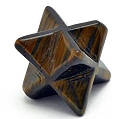 27.0 Cts. Merkaba Bead Kabbalah Tiger Eye 17Mm X 17Mm