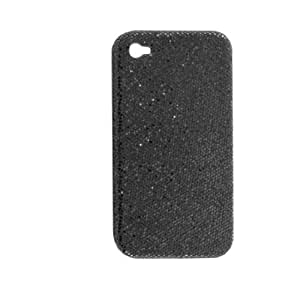 Hard Plastic Blk Glittery Protective Cover for iPhone 4