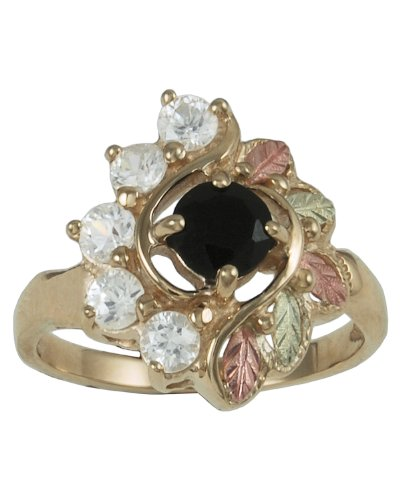 Womens 10k Yellow Gold, 12k Pink Gold and 12k Green Gold Grape Leaf Onyx Black Hills Gold Motif Ring, Size 5