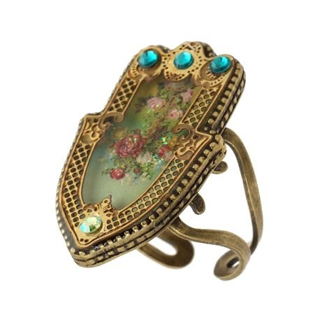 Michal Negrin Hamsa Ring with Rose Bouquet, Metal Lines Around, Glitter and Blue Swarovski Crystals - Victorian Style, Hypoallergenic