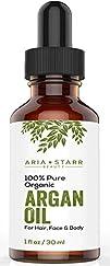 Aria Starr Beauty ORGANIC Argan Oil For Hair, Skin, Face, Nails, Cuticles & Beard- Best 100% Pure…