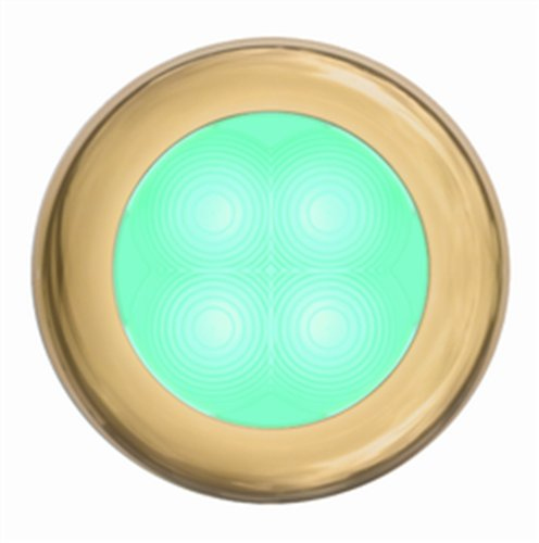 Hella 980502431 '0502 Series' Slim Line Cyan 12V Dc Round Soft Led With Gold Stainless Steel Rim
