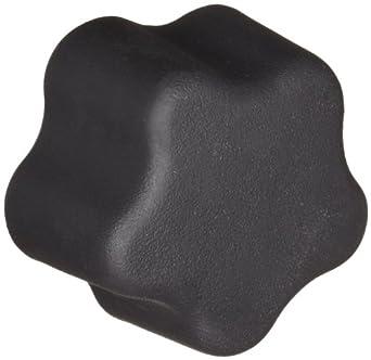 "DimcoGray Black Thermoplastic 5 Lobe Fluted Soft Feel Knob Female, Brass Insert: 3/8-16"" Thread x 5/8"" Depth, 1-1/2"" Diameter x 1-3/32"" Height x 11/16"" Hub Dia x 15/64"" Hub Length (Pack of 10)"