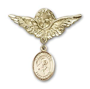 14K Gold Baby Badge with St. Robert Bellarmine Charm and Angel with Wings Badge Pin