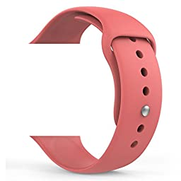 MoKo Apple Watch Band, Soft Silicone Replacement Sports Band for 38mm Apple Watch Models, Coral (Not fit 42mm Versions)