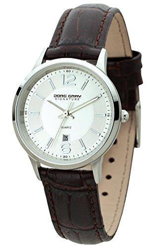 Jorg Gray Signature Collection JGS1001 - Reloj de cuarzo para mujer, correa de cuero color marrón