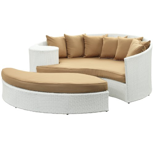 LexMod Taiji Outdoor Wicker Patio Daybed with Ottoman in White with Mocha Cushions image