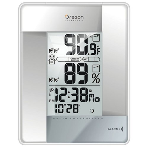 Buy Oregon Scientific RMR383HGA-S Wireless Indoor/Outdoor Thermometer with Self-Setting Atomic Clock, Silver