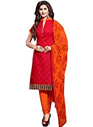 M Fab Ethnic Printed Red And Orange Free Size Straight Chudidar Salvar Suit Dress Material