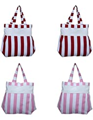 Home Pluss 4 Piece Women's Casual Fancy Bag( Pink & Red, Thick Stripes)