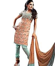 Silk India Women Poly Cotton Dress Material (Vol.4Alltimehits-Dhwani-95 _Peach & Green _4)