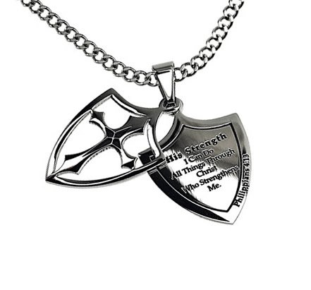 Christian Mens Stainless Steel Abstinence 2 Piece Shield