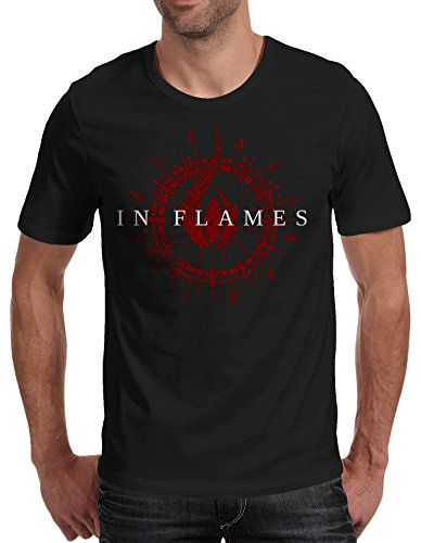 T-shirt Uomo In Flames - Red Logo Maglietta 100% cotone LaMAGLIERIA,M, Nero