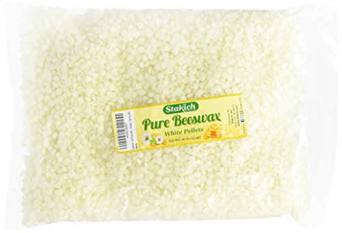 Stakich 1-lb Pure White BEESWAX Pellets - Cosmetic Grade, Top Quality -