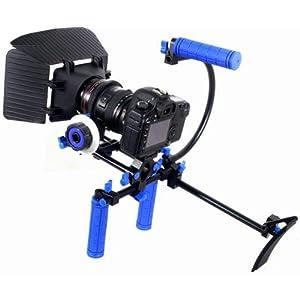 Koolertron - DSLR Rig épaule PAD Support mount + Follow Focus + Matte Box + 15mm support Mount Bracket + Top Handle Grip Avec 1/4'' crews Peut être installé sur le trépied pour appareil photo reflex numérique vidéocaméra / DV DSLR Canon Sony Nikon etc.
